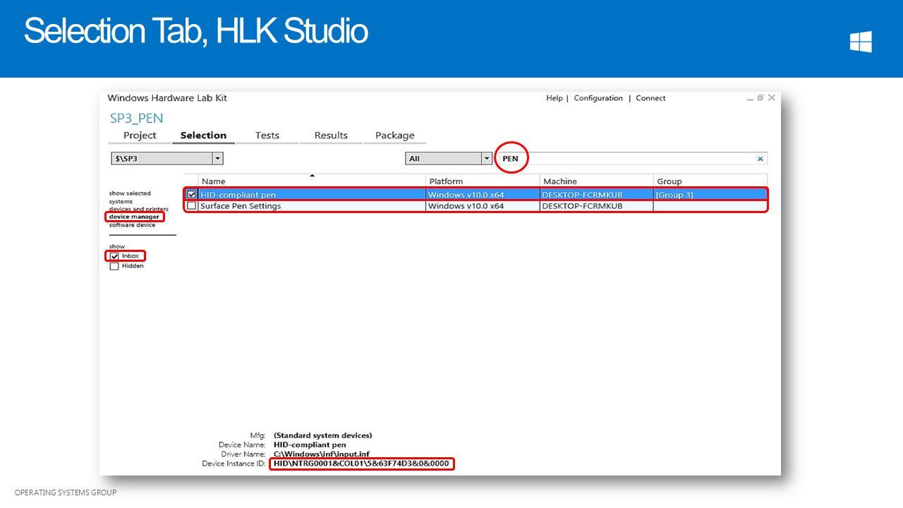 OPERATING SYSTEMS GROUP HLK Pen Validation Blue Lan Software