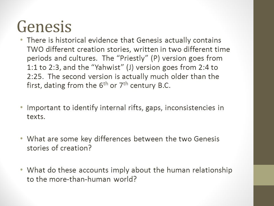 list some of the differences of the two creation accounts