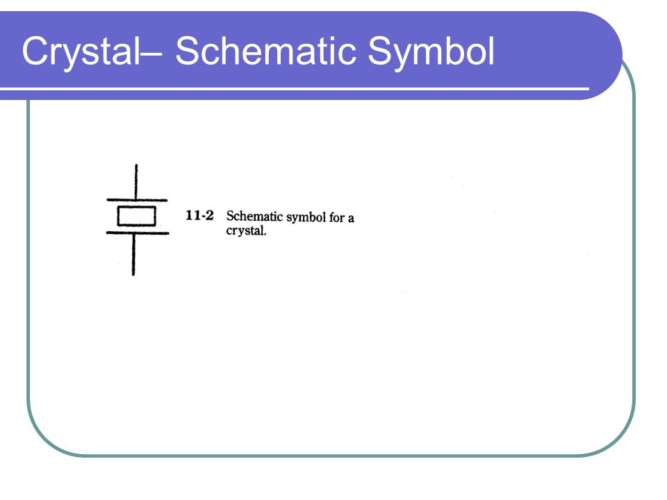 Basic Electronic Components. Crystals Equivalent Circuit to Crystal on logic symbols, circuit symbols, capacitor symbols, multimeter symbols, pneumatic symbols, data symbols, resistor symbols, electrical symbols, basic hvac symbols, power symbols, motor wiring symbols, coaxial common symbols, blueprint symbols, hydraulic symbols, pid symbols, electronics symbols, battery symbols, antenna symbols, c code symbols, common hvac symbols,