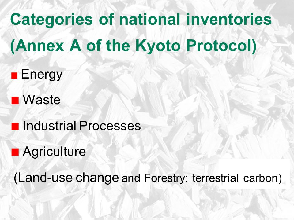 Categories of national inventories (Annex A of the Kyoto Protocol) Energy Waste Industrial Processes Agriculture (Land-use change and Forestry: terrestrial carbon)