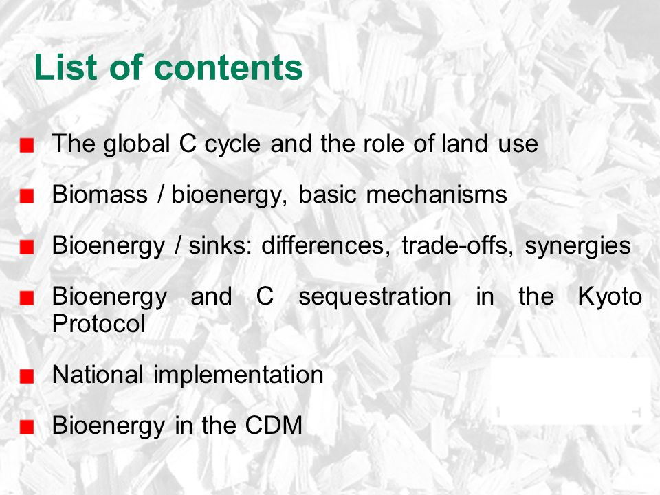 List of contents The global C cycle and the role of land use Biomass / bioenergy, basic mechanisms Bioenergy / sinks: differences, trade-offs, synergies Bioenergy and C sequestration in the Kyoto Protocol National implementation Bioenergy in the CDM