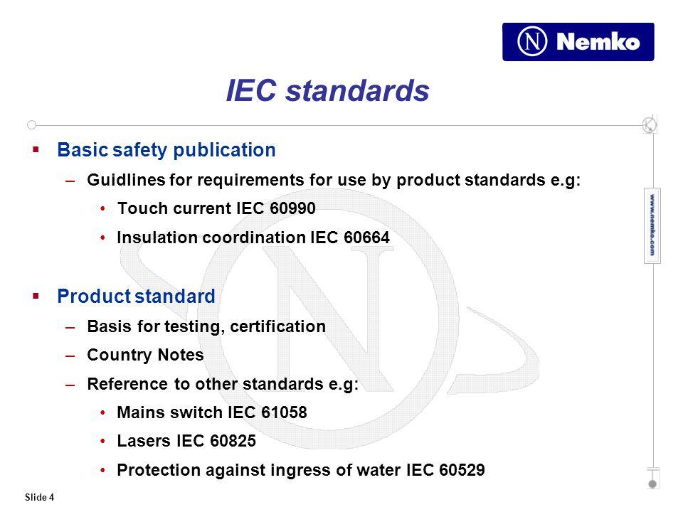 Slide 1 Standards International European and National