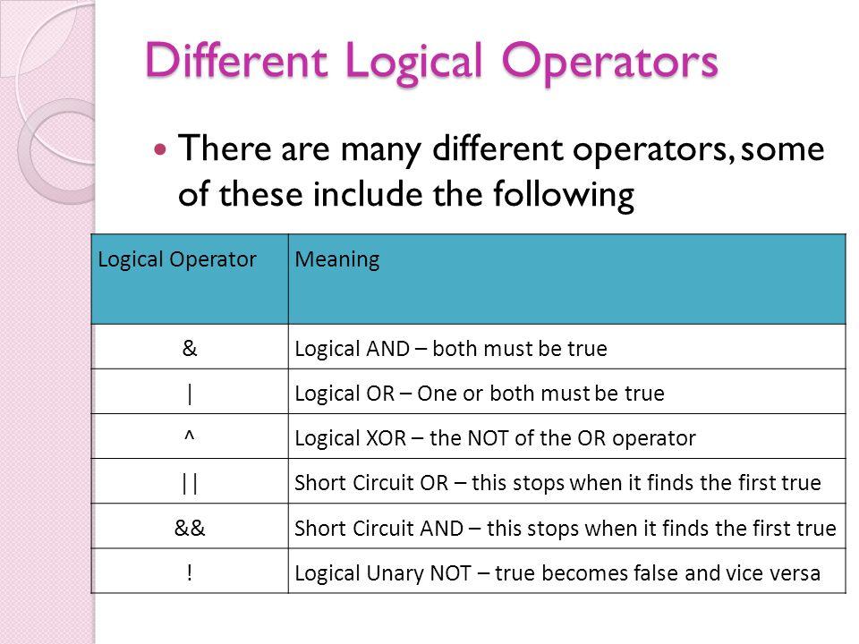 Logical Operators Jumps Logical Operators The different