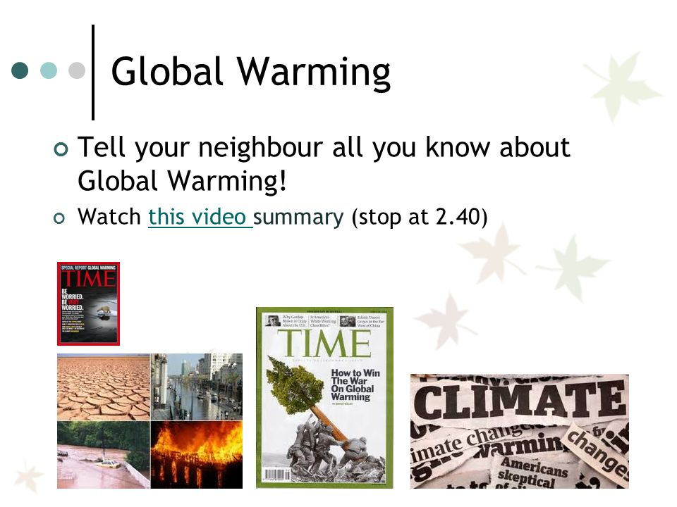 global warming summary At that point the discovery of global warming was essentially completed scientists knew the most important things about how the climate could change during the 21st century, and what impacts might follow.