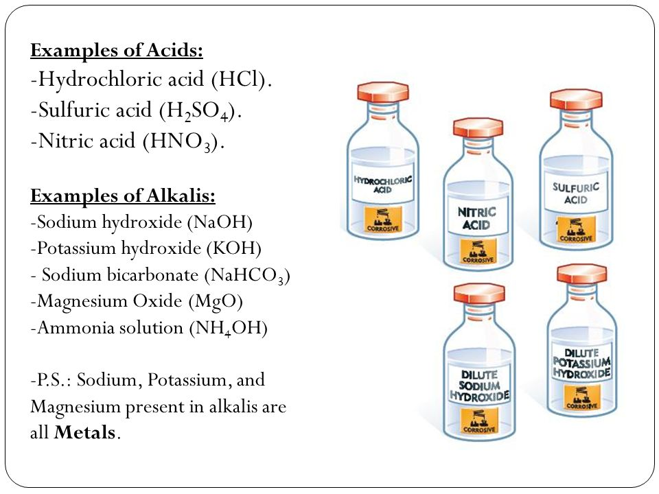 Examples of Acids: -Hydrochloric acid (HCl). -Sulfuric acid (H 2 SO 4 ).