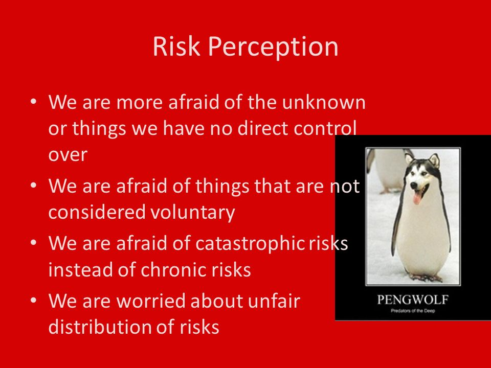Risk Perception We are more afraid of the unknown or things we have no direct control over We are afraid of things that are not considered voluntary We are afraid of catastrophic risks instead of chronic risks We are worried about unfair distribution of risks