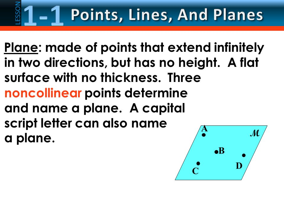 7c0c3f27c1e6 LESSON Plane  made of points that extend infinitely in two directions