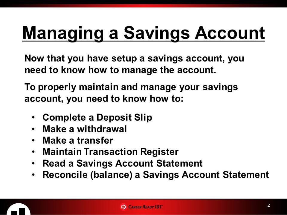 financial awareness checking savings accounts lesson 4 managing a