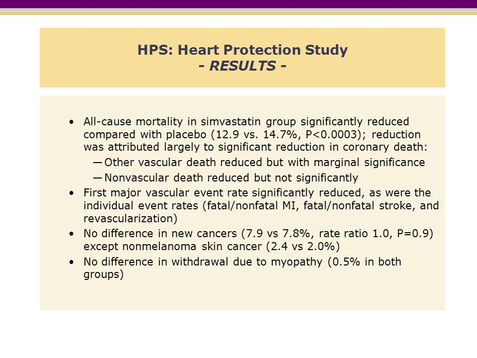 HPS: Heart Protection Study - RESULTS - All-cause mortality in simvastatin group significantly reduced compared with placebo (12.9 vs.
