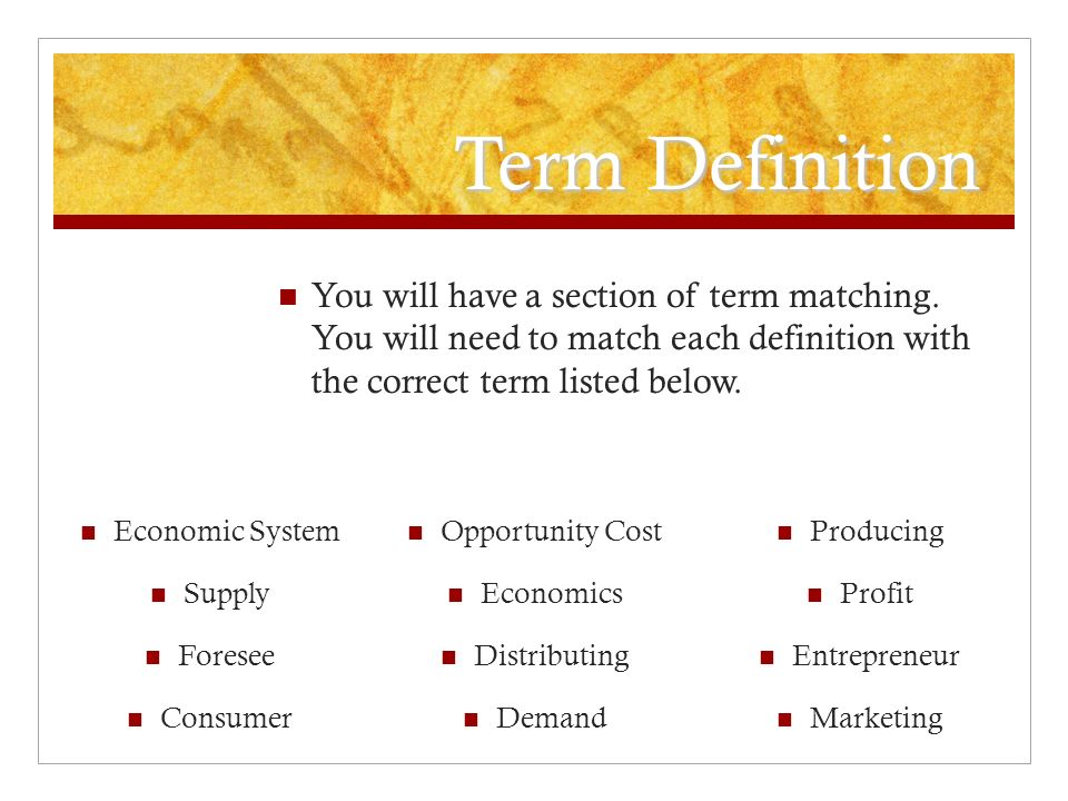 economics terms and definitions Understanding basic economics terms & concepts - chapter summary get ready to learn more about basic terms and concepts of economics build your understanding of different economic systems with.