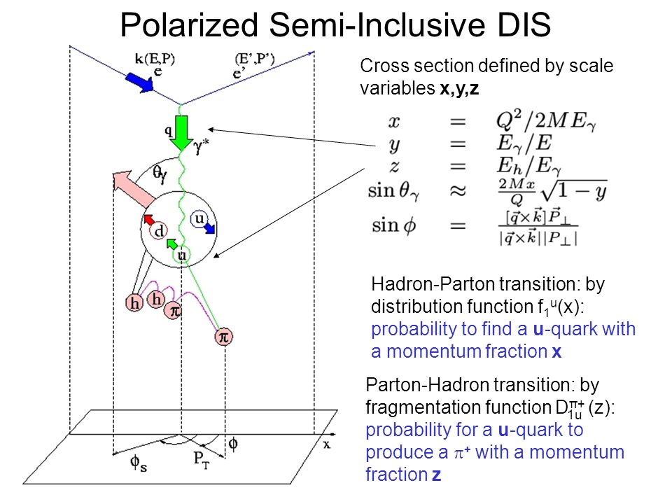 Polarized Semi-Inclusive DIS Cross section defined by scale variables x,y,z Parton-Hadron transition: by fragmentation function D π+ (z): probability for a u-quark to produce a  + with a momentum fraction z Hadron-Parton transition: by distribution function f 1 u (x): probability to find a u-quark with a momentum fraction x 1u