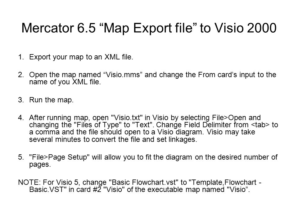 Mercator to visio tcdomain inc mercator 65 map export file to mercator 65 map export file to visio export your map to an xml file ccuart Images