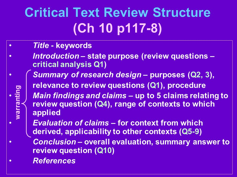 critical analysis structure