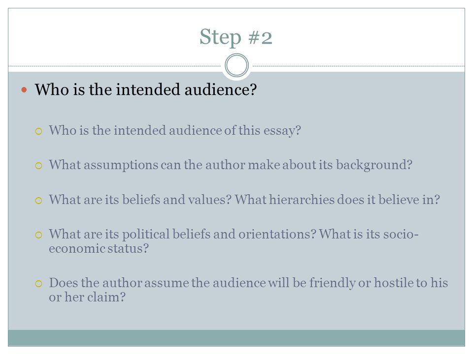 Step #2 Who is the intended audience.  Who is the intended audience of this essay.