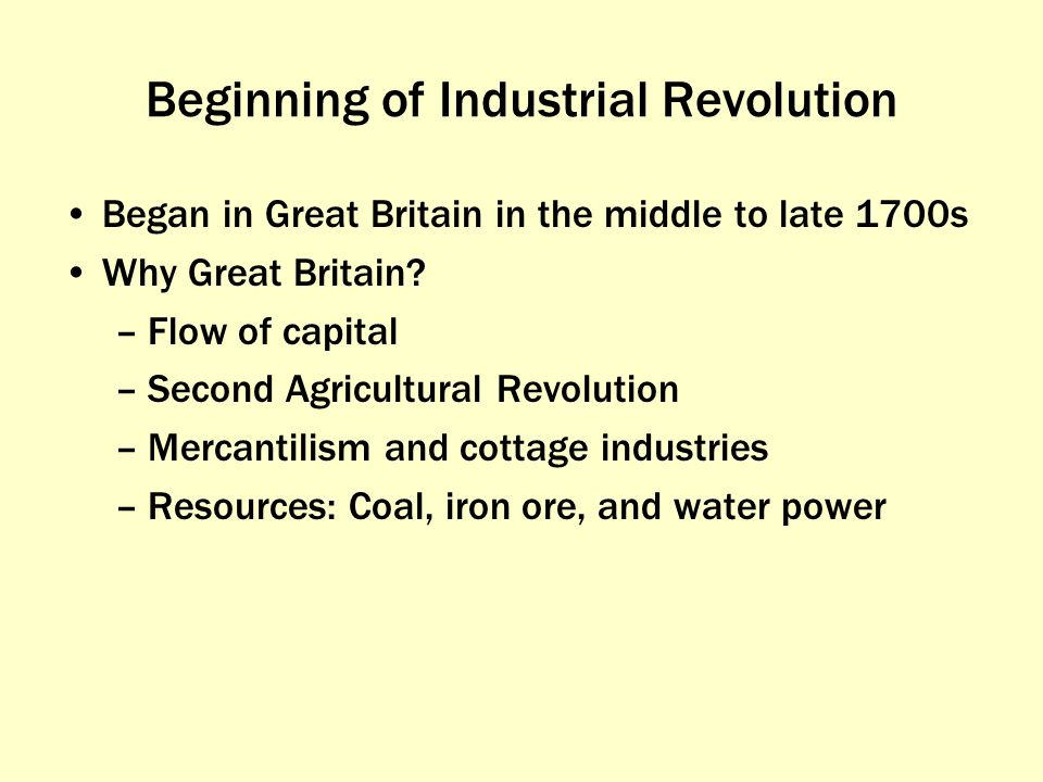 during what century did the industrial revolution began