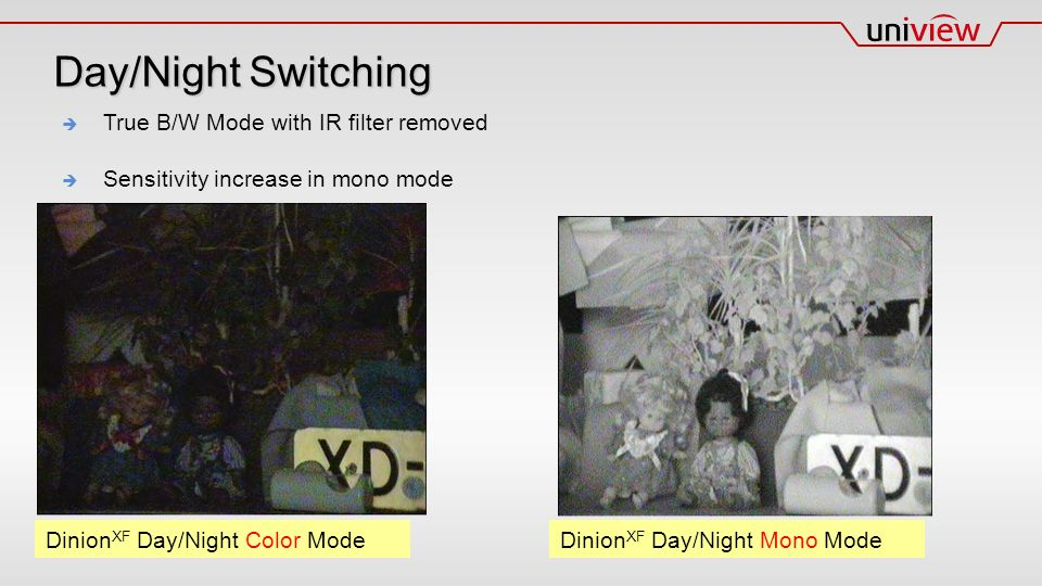  True B/W Mode with IR filter removed  Sensitivity increase in mono mode Dinion XF Day/Night Color Mode Dinion XF Day/Night Mono Mode Day/Night Switching