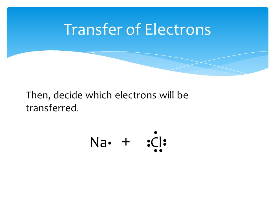 Transfer of Electrons Then, decide which electrons will be transferred. Na + Cl