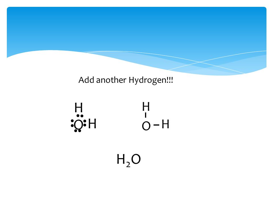 Add another Hydrogen!!! H O H O H H H2OH2O