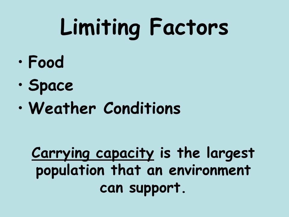 Limiting Factors Food Space Weather Conditions Carrying capacity is the largest population that an environment can support.