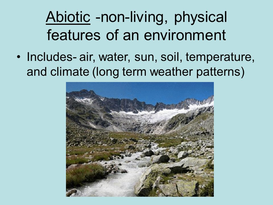 Abiotic -non-living, physical features of an environment Includes- air, water, sun, soil, temperature, and climate (long term weather patterns)