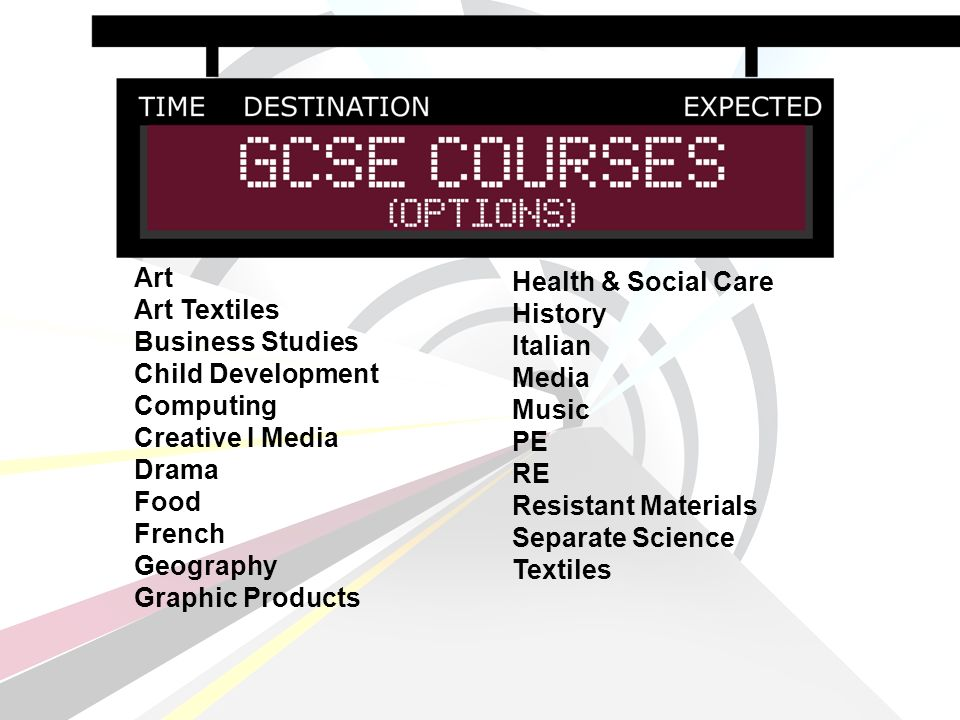 Art Art Textiles Business Studies Child Development Computing Creative I Media Drama Food French Geography Graphic Products Health & Social Care History Italian Media Music PE RE Resistant Materials Separate Science Textiles