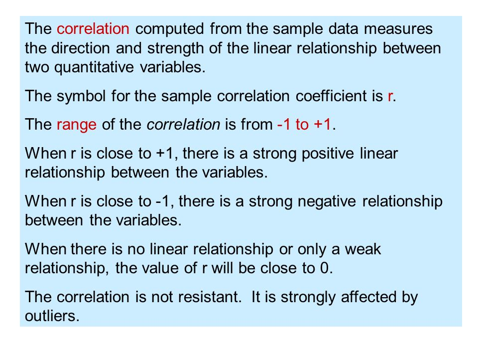 The correlation computed from the sample data measures the direction and strength of the linear relationship between two quantitative variables.