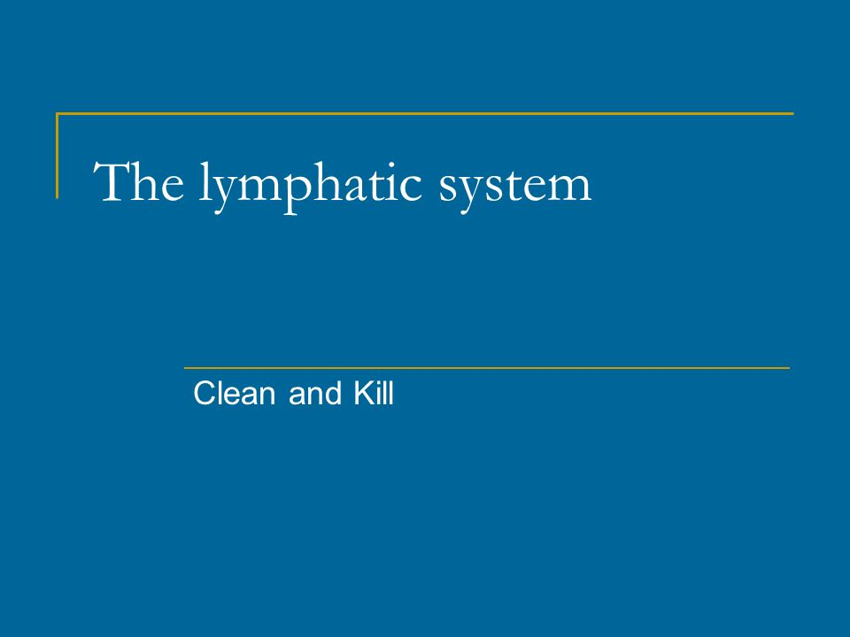 The lymphatic system Clean and Kill