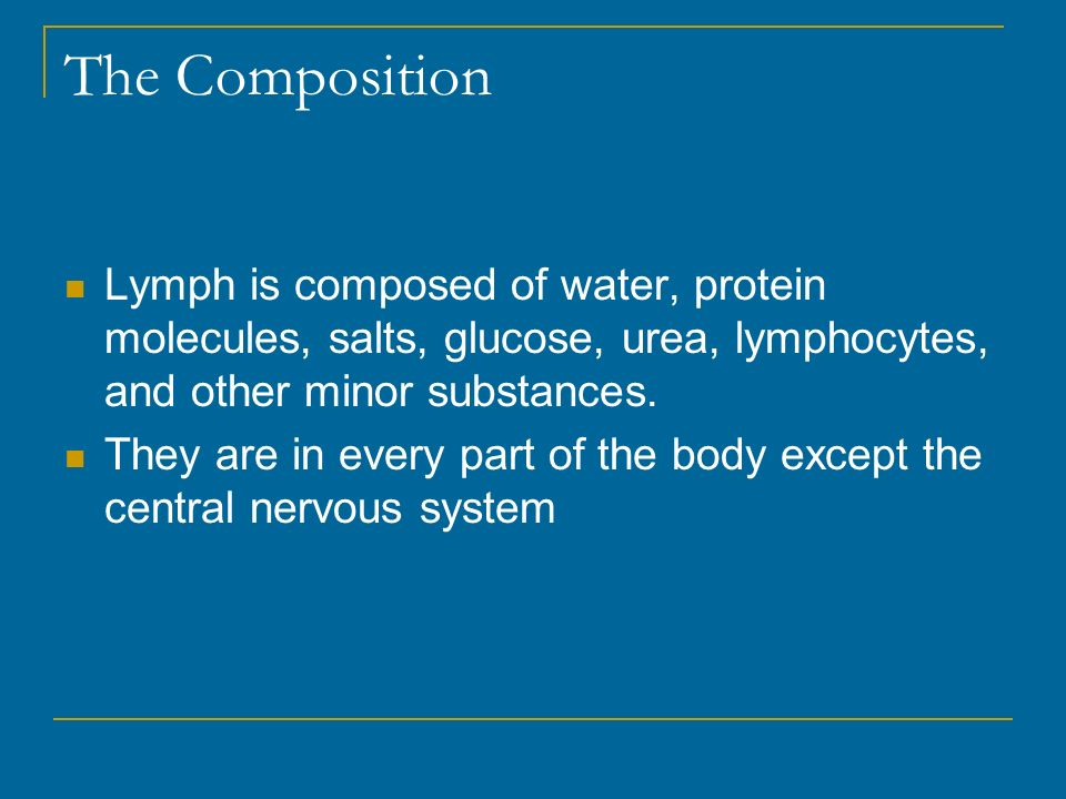 The Composition Lymph is composed of water, protein molecules, salts, glucose, urea, lymphocytes, and other minor substances.