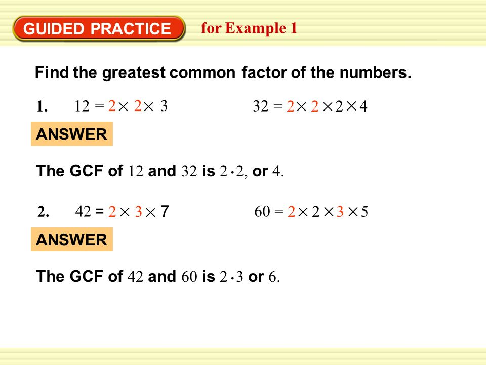 Greatest common factor – assignment point.