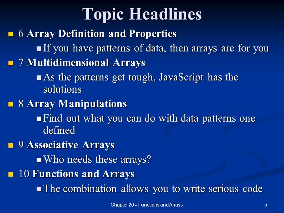 CMPS 211 JavaScript Topic 2 Functions and Arrays  - ppt download