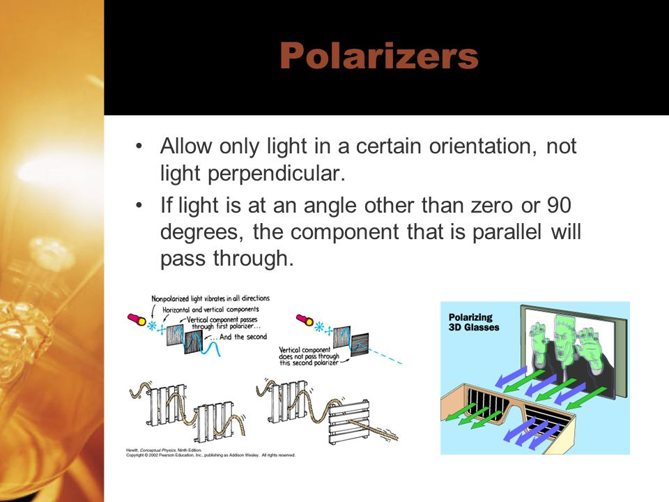 Polarizers Allow only light in a certain orientation, not light perpendicular.