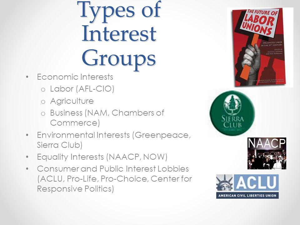 Types of Interest Groups Economic Interests o Labor (AFL-CIO) o Agriculture o Business (NAM, Chambers of Commerce) Environmental Interests (Greenpeace, Sierra Club) Equality Interests (NAACP, NOW) Consumer and Public Interest Lobbies (ACLU, Pro-Life, Pro-Choice, Center for Responsive Politics)