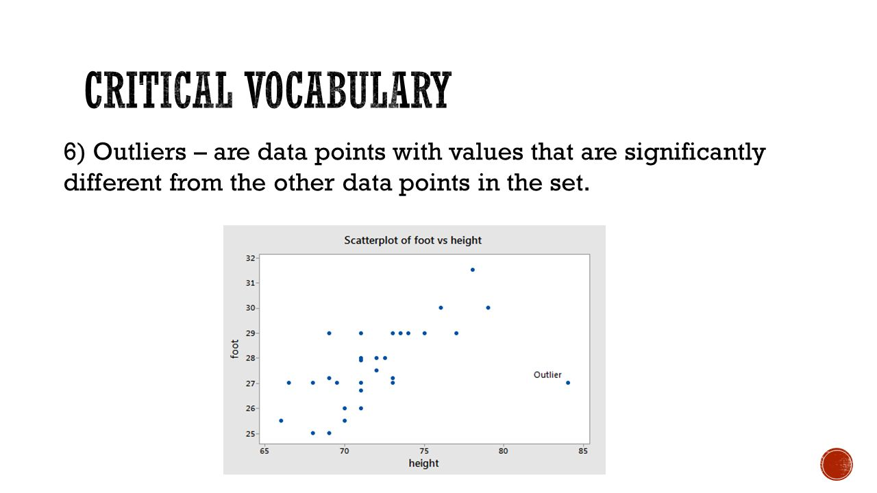 6) Outliers – are data points with values that are significantly different from the other data points in the set.