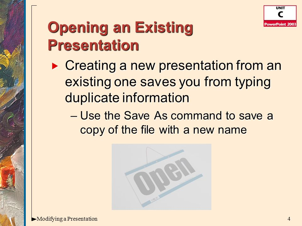 Microsoft office illustrated introductory premium edition a 4 4modifying a presentation opening an existing toneelgroepblik Image collections
