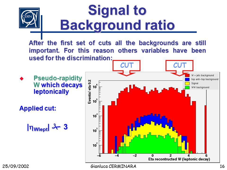 25/09/2002Gianluca CERMINARA16 Signal to Background ratio  Pseudo-rapidity W which decays leptonically After the first set of cuts all the backgrounds are still important.