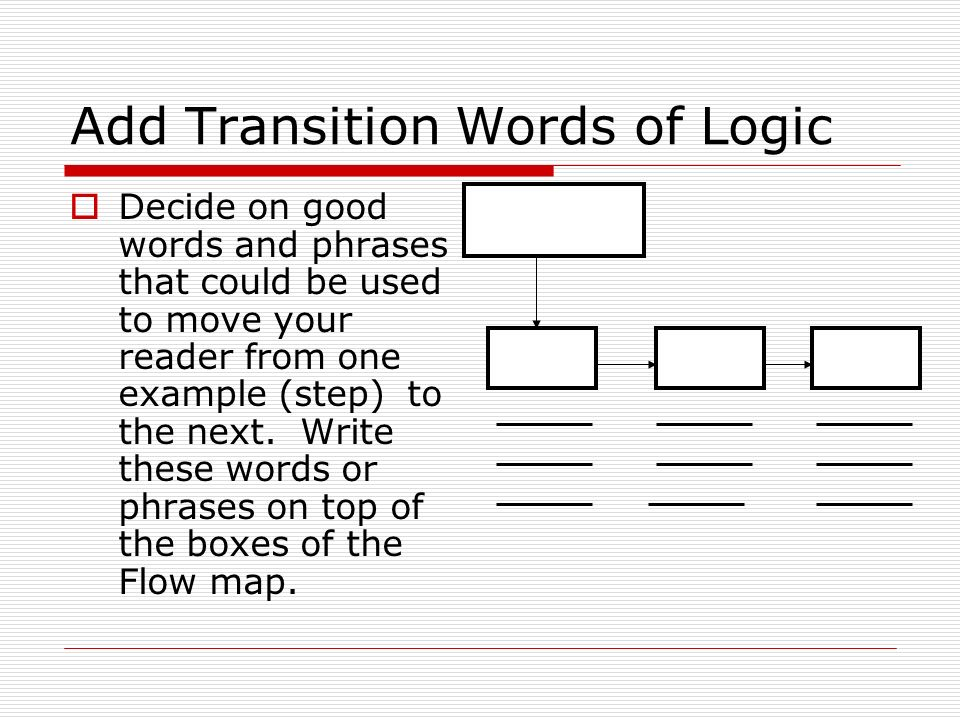 Add Transition Words of Logic  Decide on good words and phrases that could be used to move your reader from one example (step) to the next.