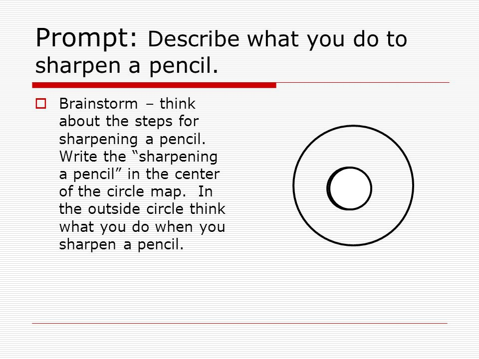  Brainstorm – think about the steps for sharpening a pencil.