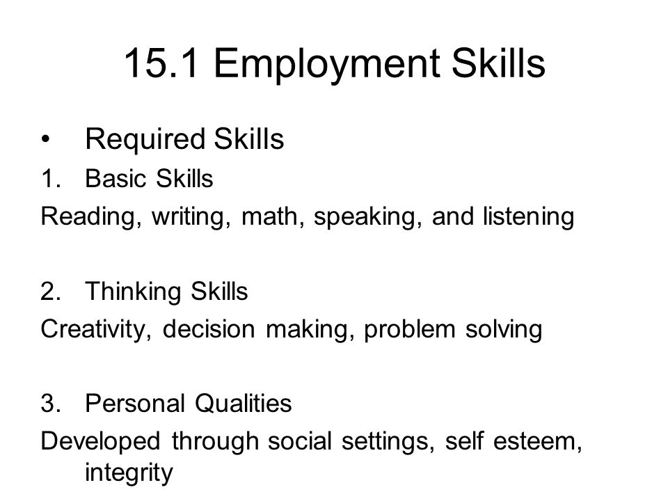 Chapter 15 Finding a Job Employment Skills Required Skills 1.Basic ...