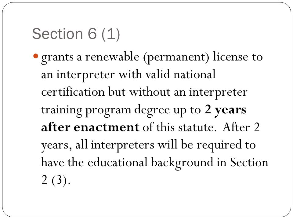 Presented By Statewide Task Force On Interpreter Licensure Proposed
