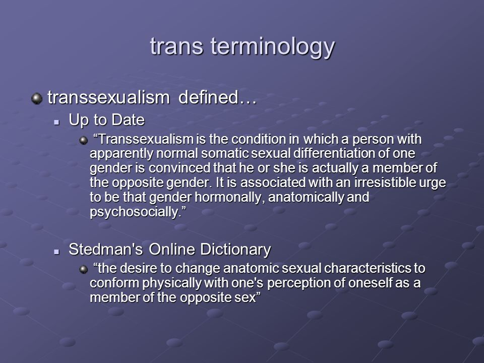 Transsexualism definition medical