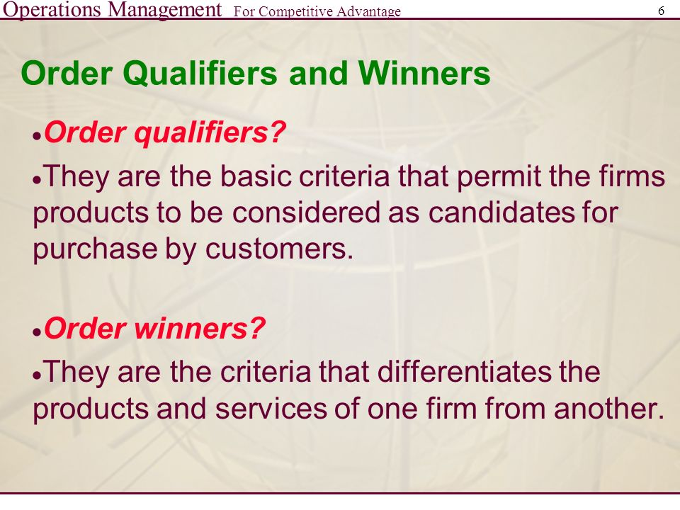 example of order qualifier