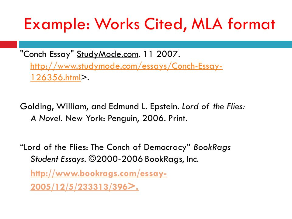 lord of the flies works cited mla format