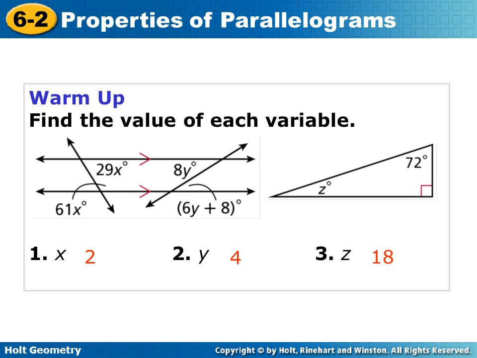 problem solving 6-2 properties of parallelograms