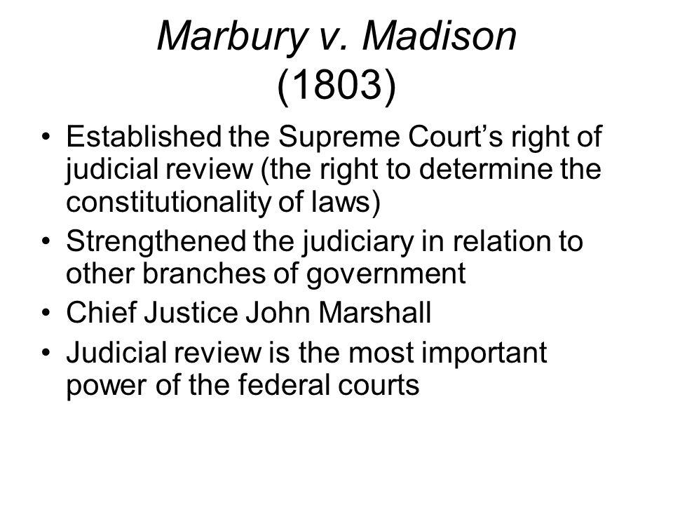 Important Supreme Court Decisions Marbury V Madison 1803