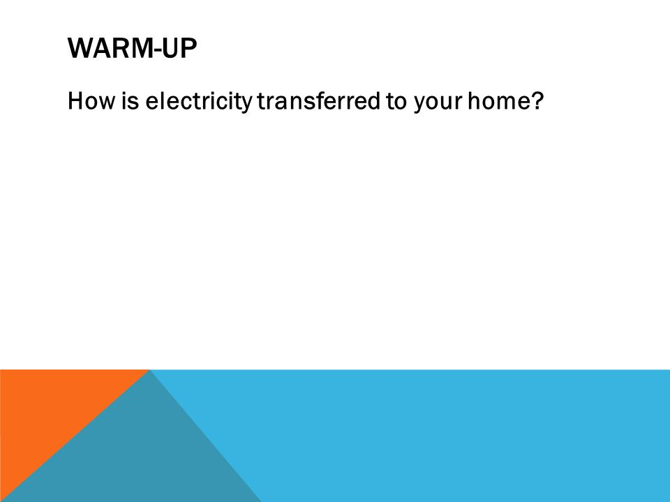 WARM-UP How is electricity transferred to your home