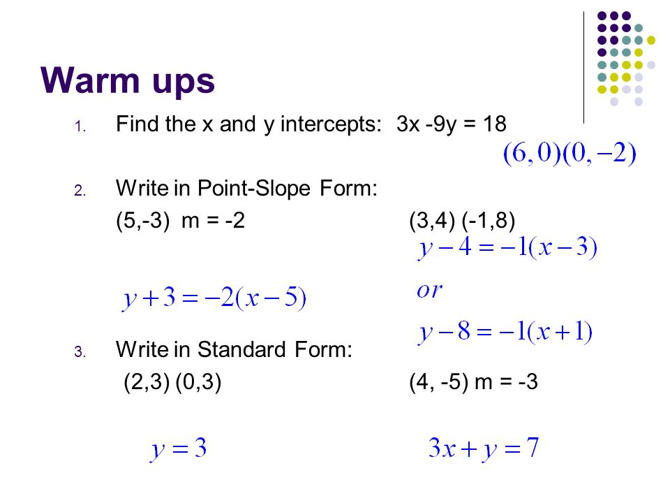 Warm Ups 1 Find The X And Y Intercepts 3x 9y Write In Point