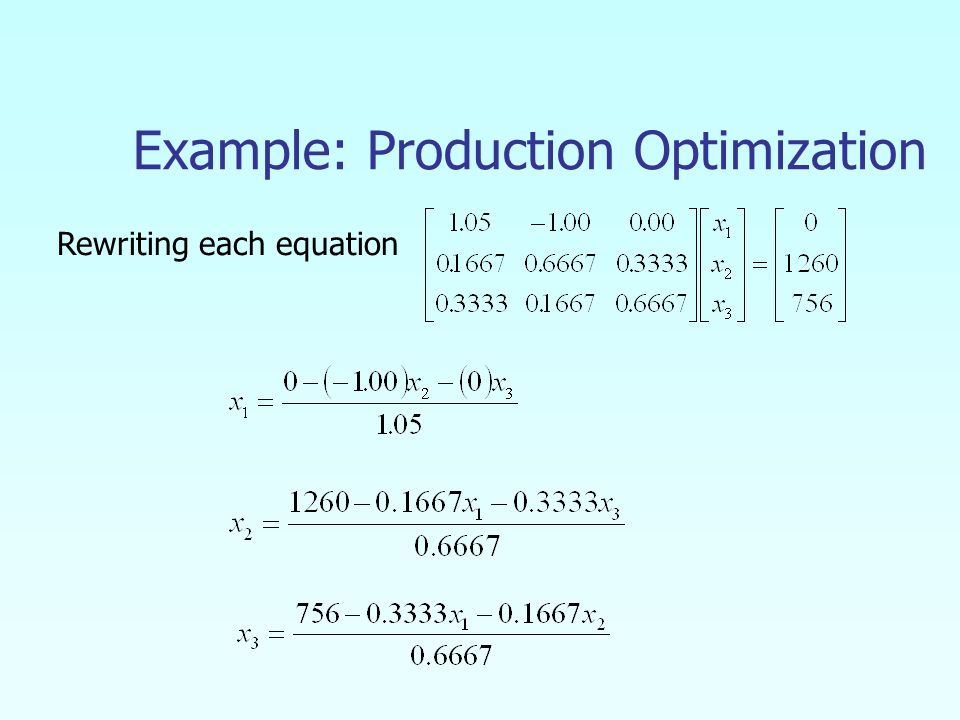 Example: Production Optimization Rewriting each equation