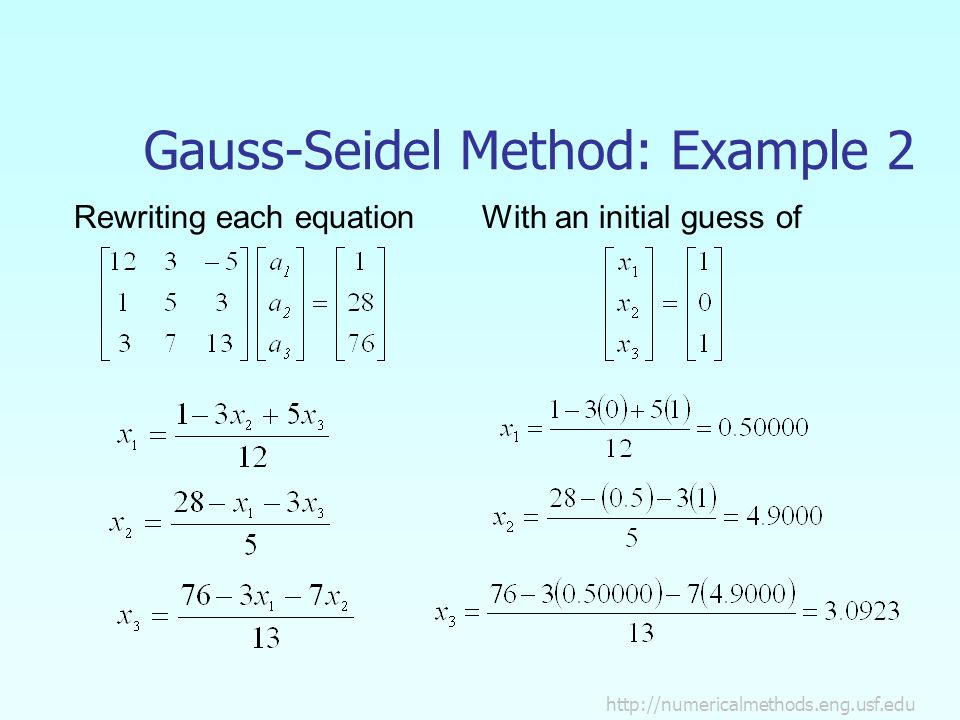 Gauss-Seidel Method: Example 2 Rewriting each equationWith an initial guess of