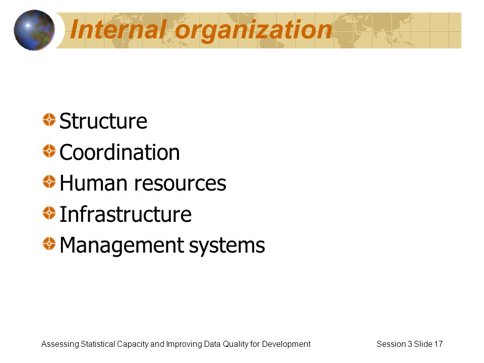 Assessing Statistical Capacity and Improving Data Quality for Development Session 3 Slide 17 Internal organization Structure Coordination Human resources Infrastructure Management systems