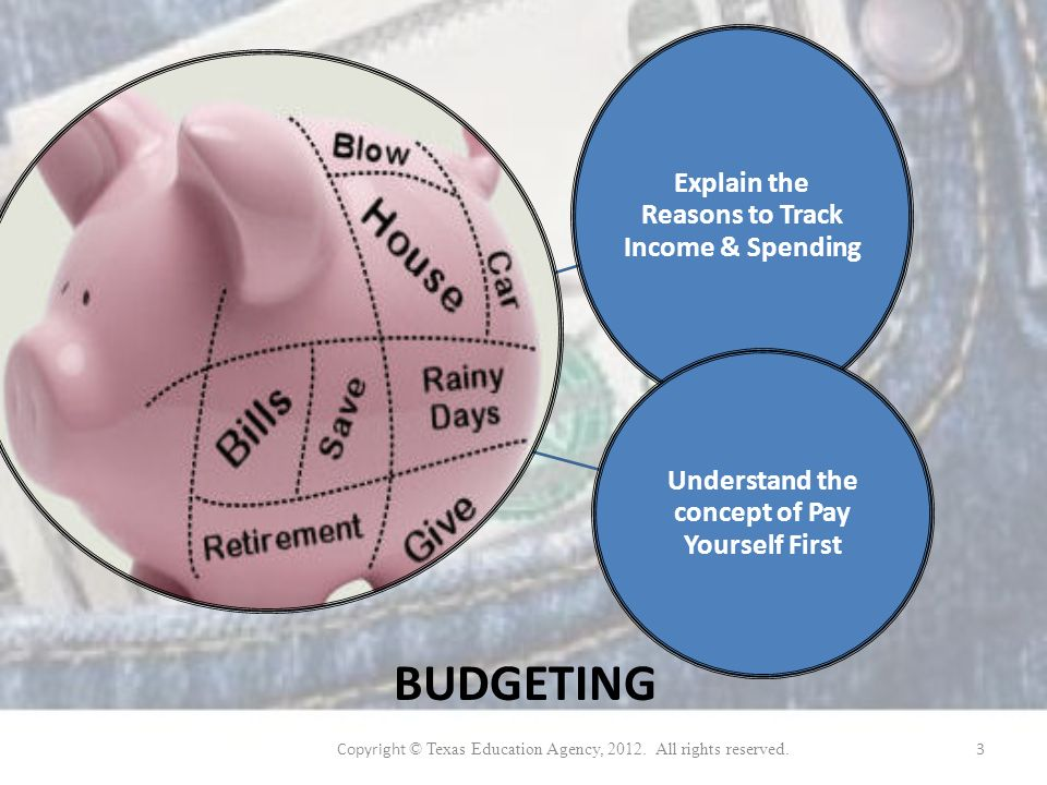 Explain the Reasons to Track Income & Spending Understand the concept of Pay Yourself First BUDGETING Copyright © Texas Education Agency, 2012.
